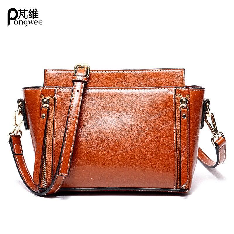 PONGWEE huile cire cuir sac à main 2018 nouveau simple sac en cuir blanc dames portable Messenger sac à bandoulière