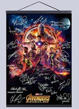 Avengers Infinity War signature Movie canvas poster decoration painting with solid wood hanging scroll no frame(China)