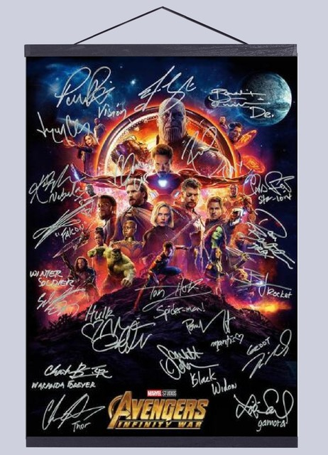Avengers Infinity War signature Movie canvas poster decoration painting with solid wood hanging scroll no frame
