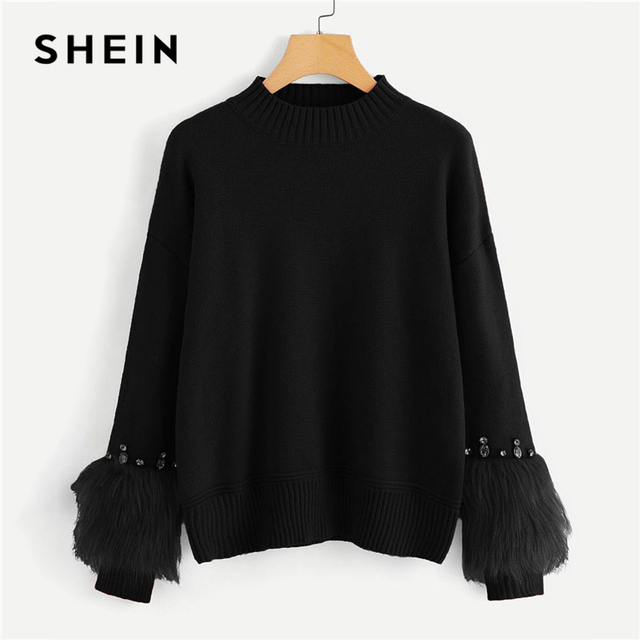 88001366ea SHEIN Black Solid Faux Fur Cuff Rhinestone Embellished Sweater Casual O-Neck  Long Sleeve Pullovers Women Autumn Sweaters