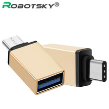 Robotsky USB 3.1 Type C to USB 3.0 Converter USB Type-C OTG Adapter for Chromebook Macbook Huawei P9 Xiaomi 4C Nexus 5X 6P LG G5(China)