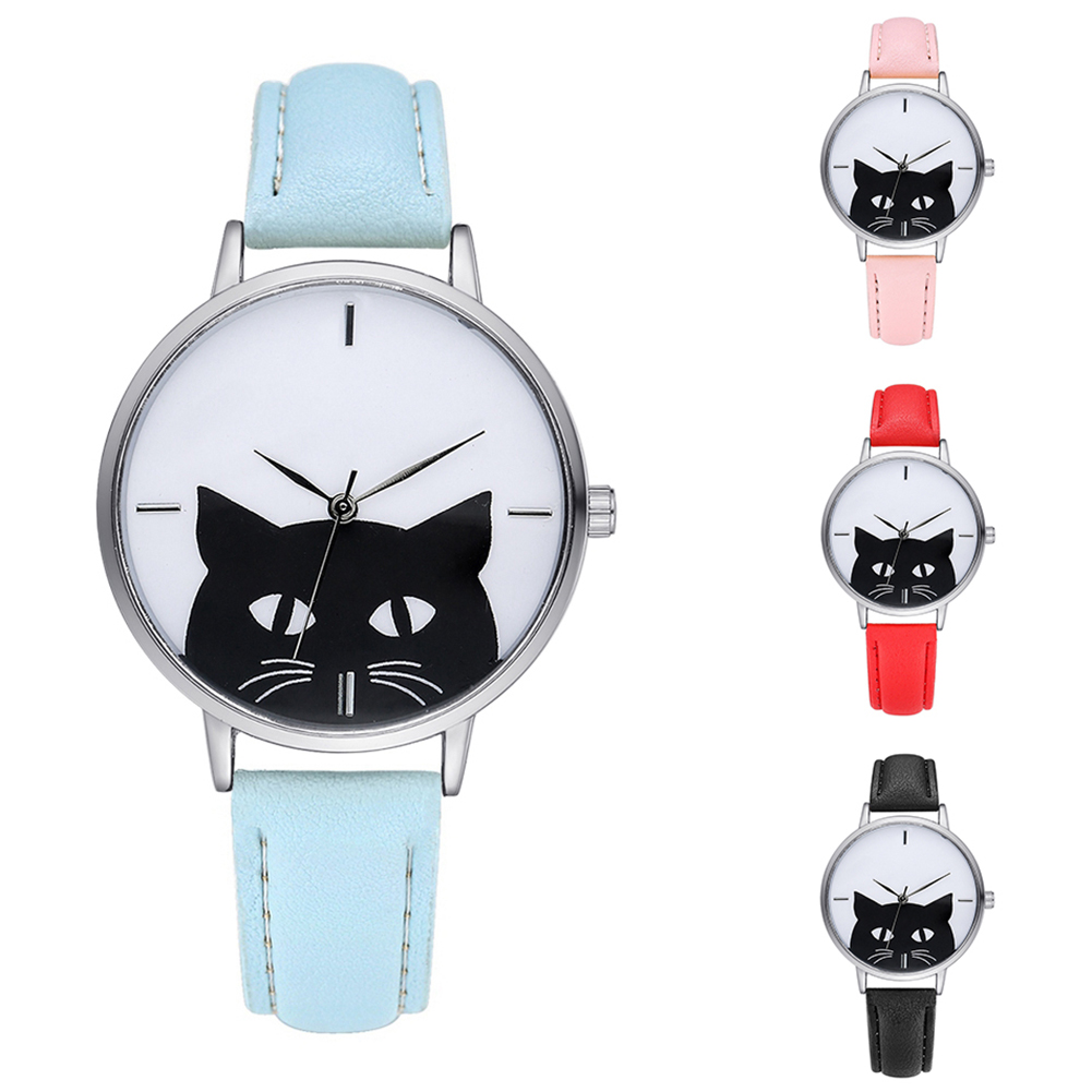 Women Fashion Faux Leather Band Cartoon Cat Dial Analog Quartz Wrist Watch цена