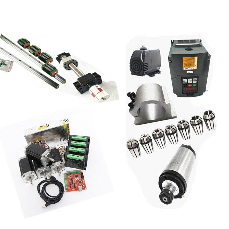 6 set HGH20-400/1500/2500 millimetri + 3 SFU1605-450/1550/2550mm + 2.2kw 220 v mandrino acqua set + 4 assi nema23 425oz. in kit motore passo a passo di cnc