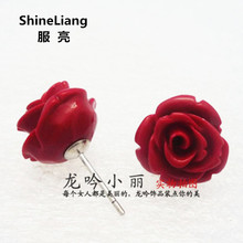 2018 Stud earrings for women Rose shape Dull red 925 Tremella nail anti allergy silver does not fade lady fashion Jewellery gift