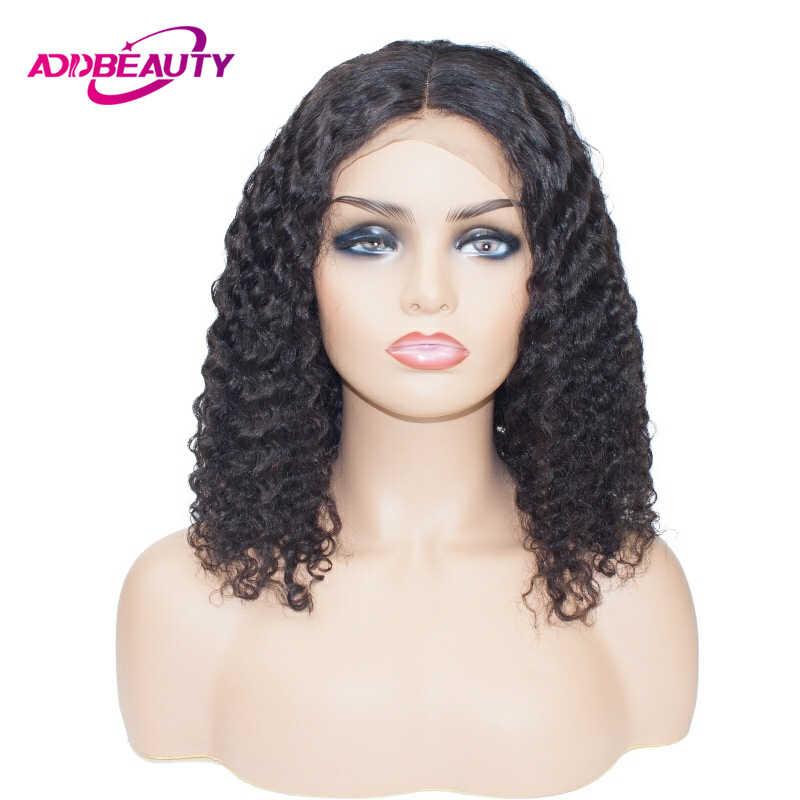 Peluca frontal de encaje de onda de agua de Bob corto 13x6 para mujeres negras cabello rizado Natural Remy humano brasileño pre arrancado Addbeauty