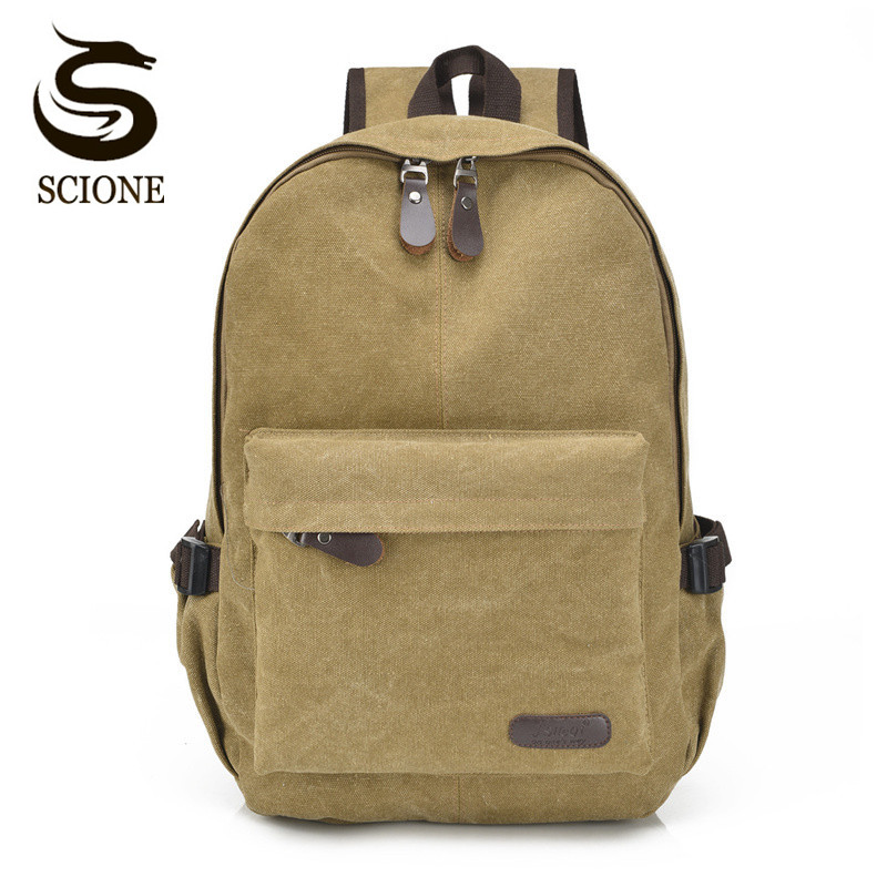 Scione New Arrival Men Canvas Backpack Casual School Bag for Women Male Female Big Travel Backpack Student Bag Computer Backpack folding travel backpack multifunction shoulder storage bags women s men s portable male s school bag accessories supply