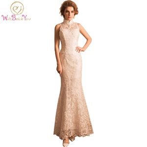 100% Real Image Robe De Soiree Manche Longue Lace Beige Evening Dresses High Neck Mermaid Cheap Long Party Prom Gowns