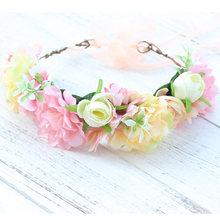 цены flower garland crown headband Flower Wreath Girls Festival Wedding Party Floral Garlands Crown Halo With Ribbon Flower Crown