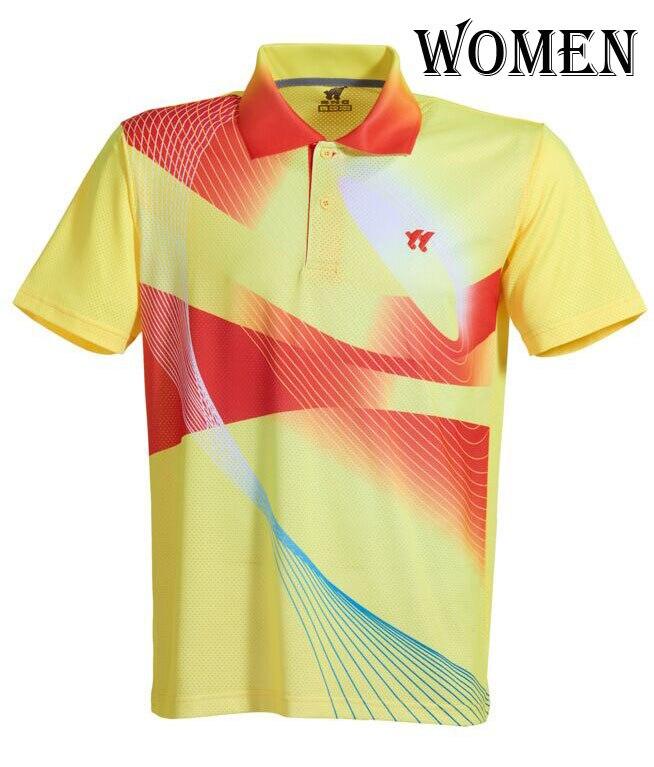 Спортивная быстросохнущая дышащая футболка для бадминтона, майки для женщин/мужчин, волейбол, гольф, настольный теннис, боулинг, мужские футболки - Цвет: woman yellow Shirt