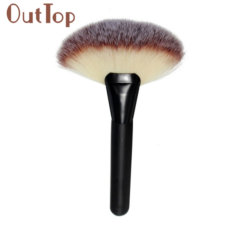 Beautiful and Stylish Makeup Large Fan Goat Hair Blush Face Powder Foundation Cosmetic Brush FREE SHIPPIHNG 2017 O7