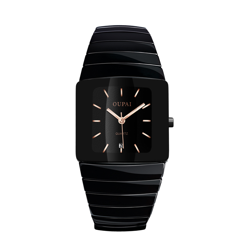 Image 3 - OUPAI Black Ceracmic Rectangle Men Watch with Calendar Business Tonneau Luminous Hands  Water Resistant Couple Watch-in Quartz Watches from Watches