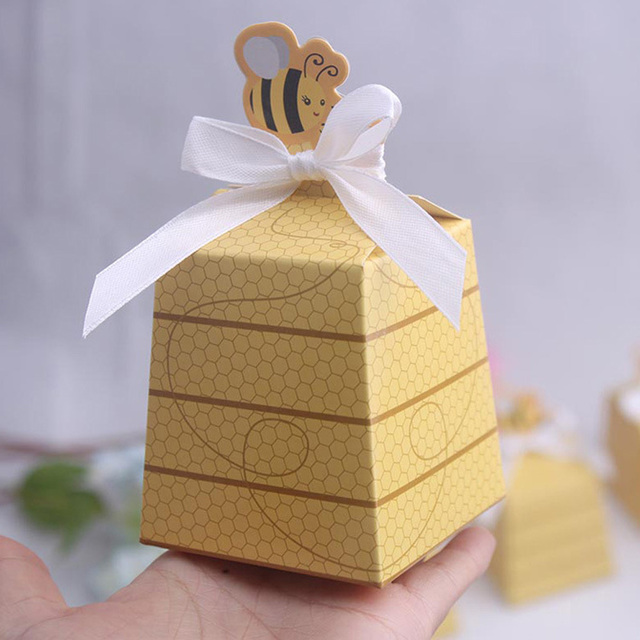 Free Shipping 50pcs Honey Bee Baby Shower Candy Box Birthday Party Favors Obsequios Wedding Baptism Decorations