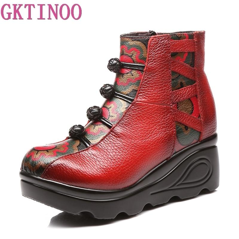GKTINOO Retro Handmade Printing Genuine Leather Boots 2018 New Winter Women Fashion Shoes Platform Wedges Ankle
