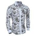 Los hombres Camisa De Flores 2016 Nuevo Otoño de la Manera Impresión Casual Slim Fit Camisas de Vestir Camisa Hawaiana Masculina Chemise Homme