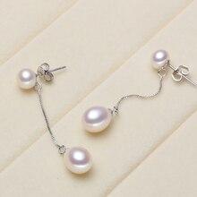 Eternal wedding Women Gift word 925 Sterling silver real beautiful long pearl font b earrings b