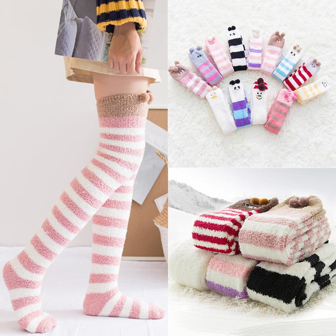 Medias Japanese Girl Animal Modeling Socks Winter Warm Knee Sock Sleep Top Sell Striped Cute Lovely Kawaii Long Thigh High Socks
