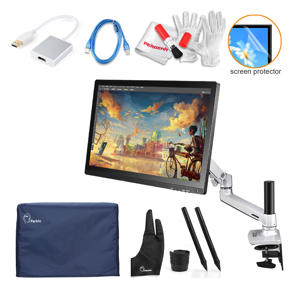 2 Pens UGEE UG-2150 Digital Graphic Drawing Tablet Monitor Kit 21.5 IPS Display 1920x1080 + Desk Mount +Protector Cover + Glove