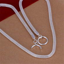 N087 Free shipping Popular Beautiful fashion Elegant silver plated jewelry chain cute charm mesh Chain Necklace  n087