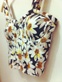 Vivi Daisy Big Daisy Floral Print Cute Vest Sexy Crop Tops Women's Bra Top  Camis Straps Padded Top Drop Shipping B482