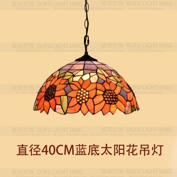 16inch Tiffany Sunflower Stained Glass Suspended Luminaire E27 110-240v Chain Pendant Lights For Home Parlor Dining Bed Room
