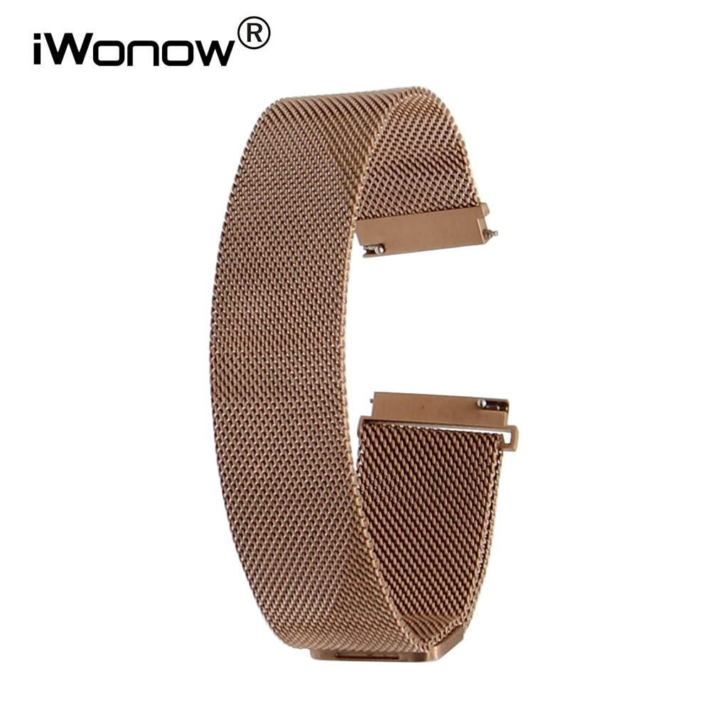 aa07b918b62 20mm 22mm Milanese Stainless Steel Watchband for Seiko Citizen Casio Magnet  Lock Watch Band Quick Release Wrist Strap Rose Gold