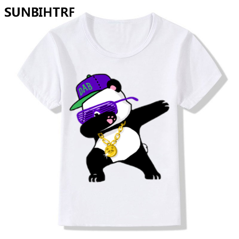 Dabbing Panda Cartoon Design Funny Children's T Shirt Kids Casual Clothes Short Sleeve Tops T Shirts For Big Boys Girls
