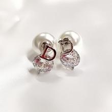 Mimiyagu Korean simple D cubic zircon double side  pearl earring for women hiqh quality cc jewelry
