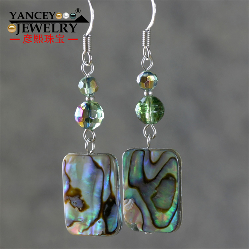 YANCEY Original design Natural abalone shell Handmade Drop Earrings, with S925 and 9k gold Bohemia simple fashion women Earrings 2018 new yancey original design fine pearl long tassel star luxurious drop earrings 9k gold inlay the style of the goddess