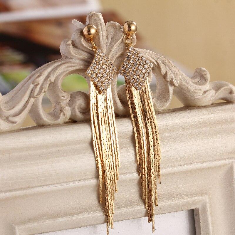 High class great quality zircon drop earrings long tassel chain ...