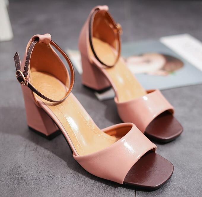 Zapatos Mujer Women Pumps Ankle Strap Thick Heel Women Shoes Square Toe Mid Heels Dress Work Pumps Comfortable Ladies Shoes 5cm