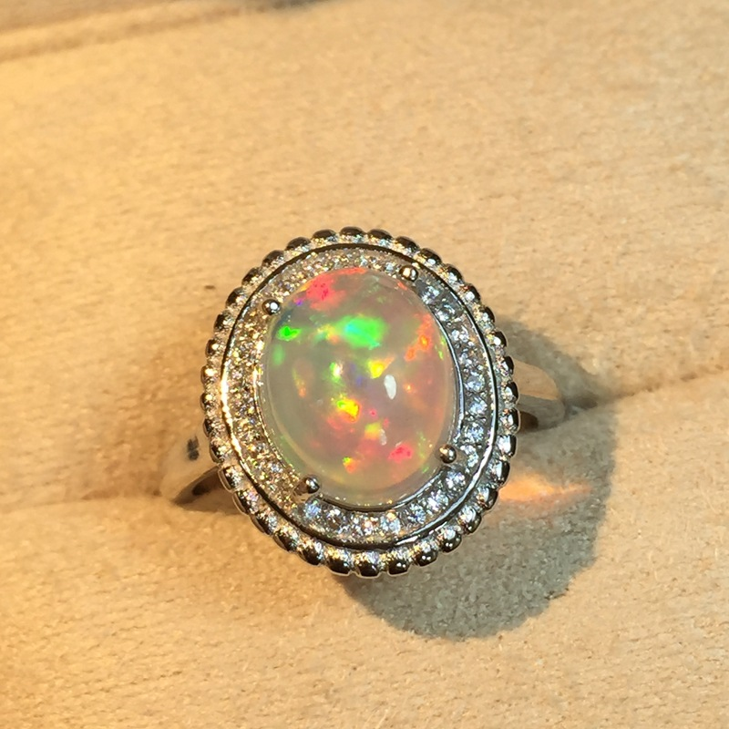 Natural Fire Opal Ring Solid 925 Sterling Silver For Women Colour Gem Stone Rings Fine Jewelry