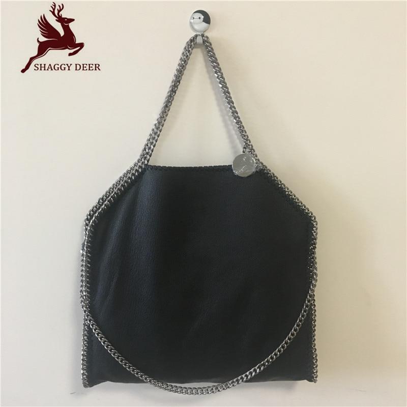 Shaggy Deer 37CM MID Top Quality Genuine Leather 100% Soft Sheepskin FALA Stella Shopping Tote Luxury Classical Chain Bag