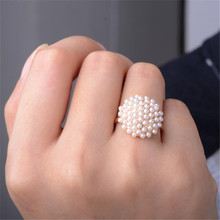 New Fashion Gold Color Simulated Pearl Round Shaped Ring For Women Engagement Rings Jewelry Gift