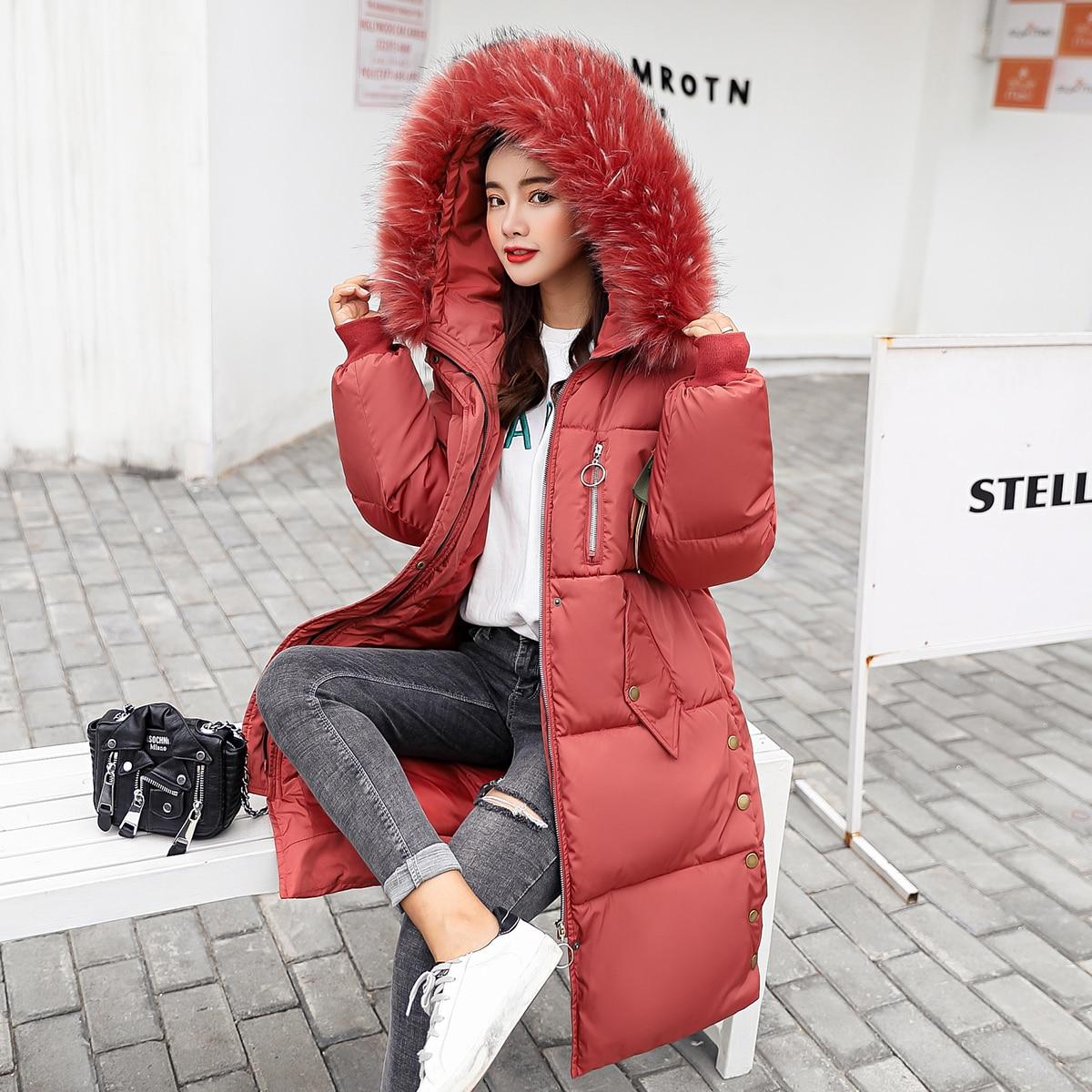Épais Creamy Lâche 2018 Manteau D'hiver Ayunsue Kj680 Parkas white Fourrure Longue Veste Rose Col Mujer Femmes pink Pour Coréen red black De Grand Vestes gray Parka wxIrRqHIX