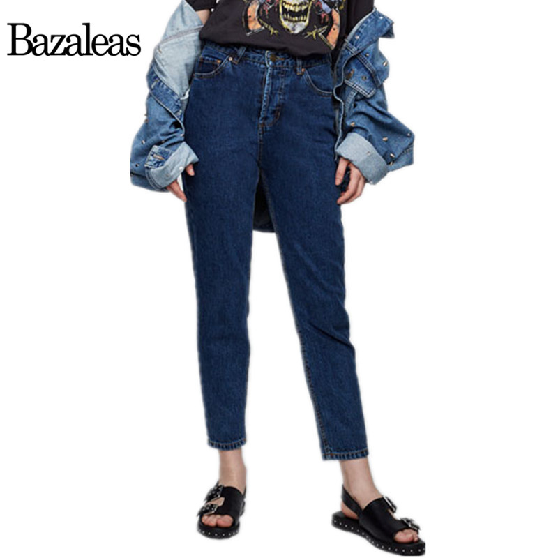 Bazaleas 2017 Casual Spring Autumn Women Casual Jeans Vintage High Waist womens pants loose cowboy ankle