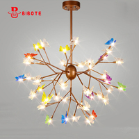 2017 New Hot Lustre Iron Vintage Colorful Butterfly Bedroom Lamp LED Pendant Lights Top Novelty Indoor