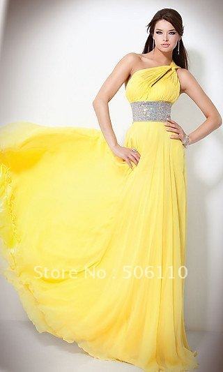 Custom Yellow Sexy One shoulder Chiffon Ribbon Rinestones Evening Dresses Long Pleated Free Shipping Prom Formal Gowns Dress