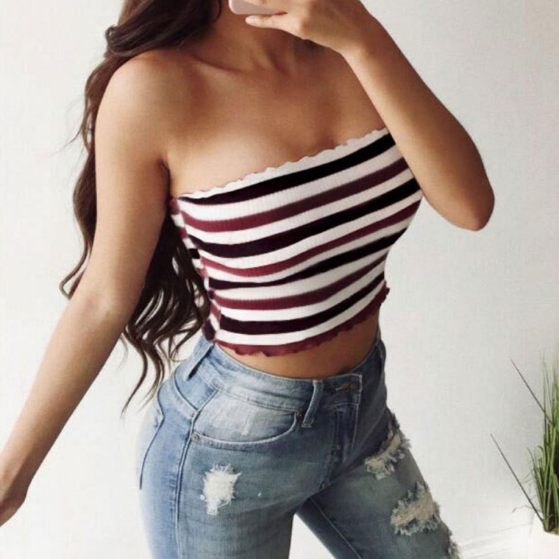 Fashion Bodycon Night Club Tube Tops Women Sexy Strapless Striped Ruched Elastic Tanks Top Breast Wrap Summer Short Tops S-XL