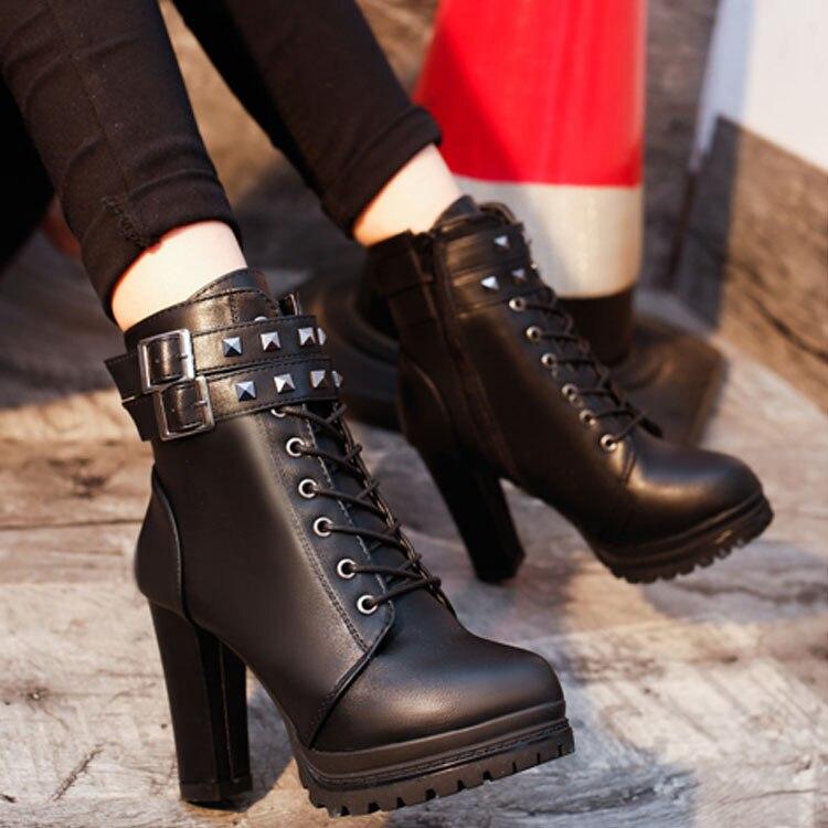 Tacón Aa0589 Mujeres Plataforma Invierno A Nueva 2018 Botas With Del Bombas Sexy De Señora Moda Rivets Zapatos Tobillo Piel Negro La B black Rivets Black TYxqAOwdx