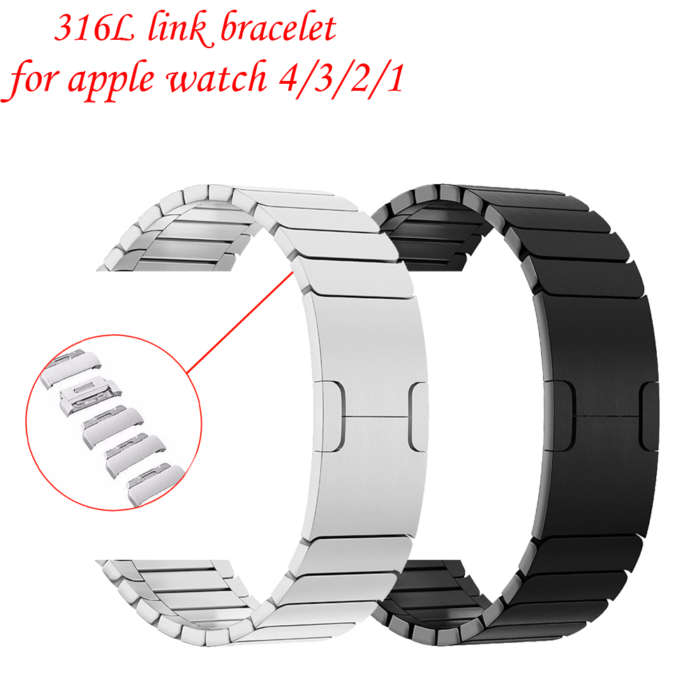 Link Bracelet Strap for Apple Watch 4/3/2/1 Stainless Steel metal buckle watchband iwatch band 42mm 38mm 44mm 40mm clock belt case link bracelet strap for apple watch 4 3 2 1 44mm 40mm band stainless steel metal buckle watchband iwatch series 42mm 38mm