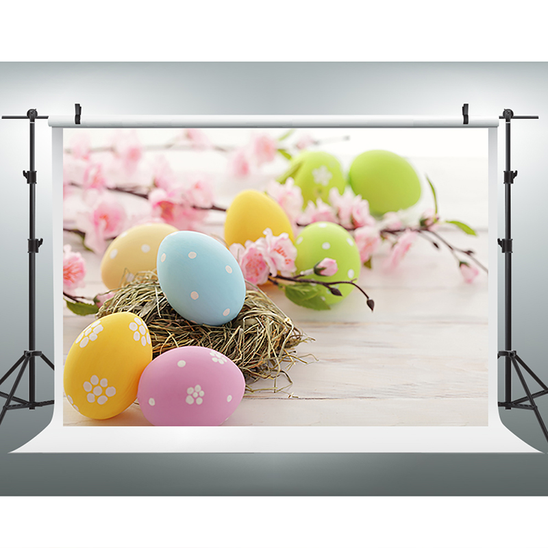 Easter Photography Background Egg Pink Flowers Photo Booth Backdrop Wood Floor Easter Background for Photographic Studio