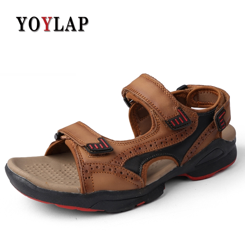 2018 summer mens sandals slippers genuine leather sandals outdoor casual men leather sandals for men Men Beach shoe