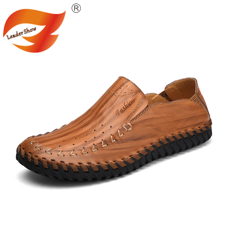 Leader Show Male Genuine Leather Loafers Fashion Handmade Moccasins Shoes Men Handmade Flats Slip On Casual Men's Driving Shoes men s genuine leather casual shoes handmade loafers for male men waterproof flat driving shoes flats