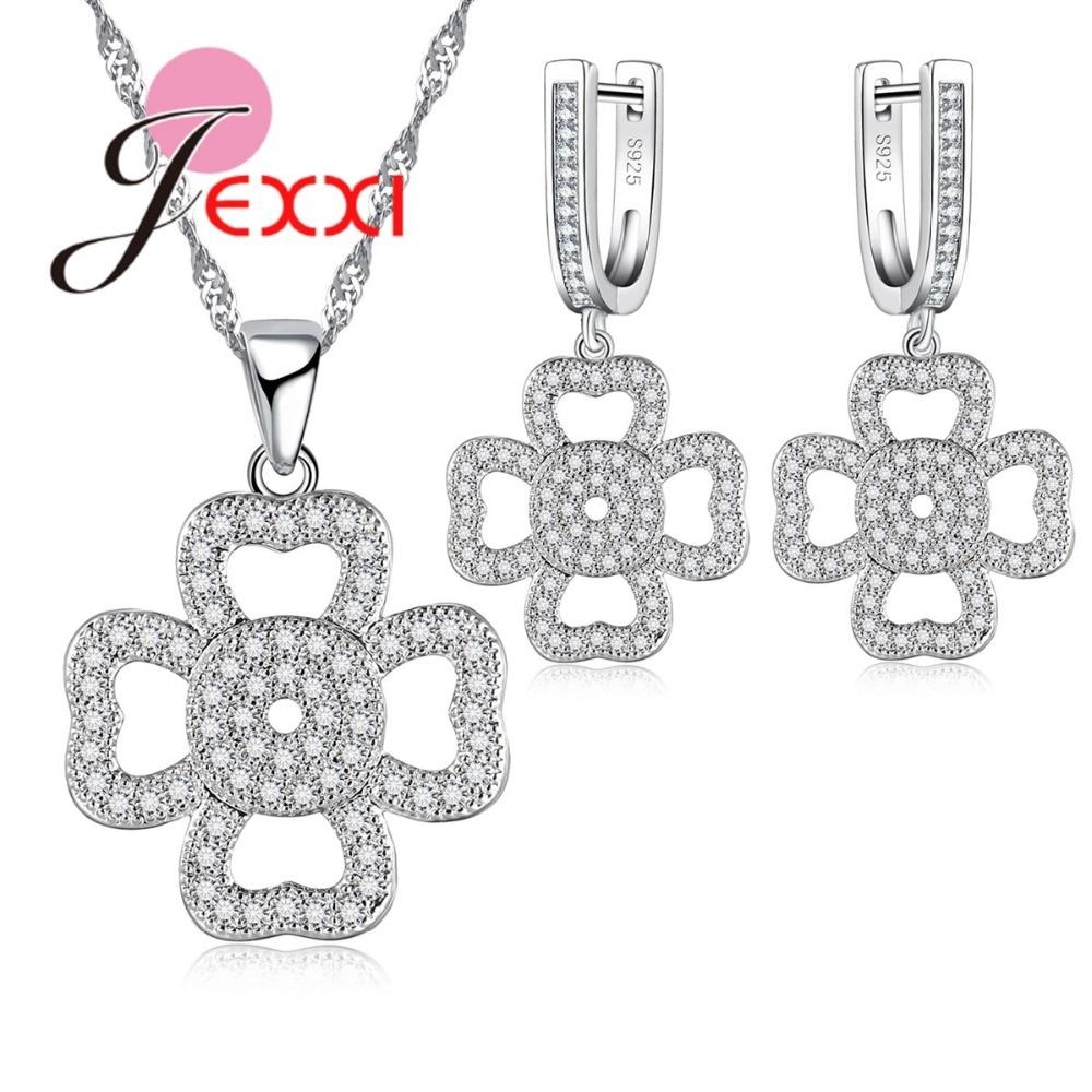 JEXXI Новая мода полые цветочные украшения 925 стерлингового серебра CZ кристалл кулон Цепочки и ожерелья Длинные Висячие Серьги Комплекты Мода Для женщин Bijoux