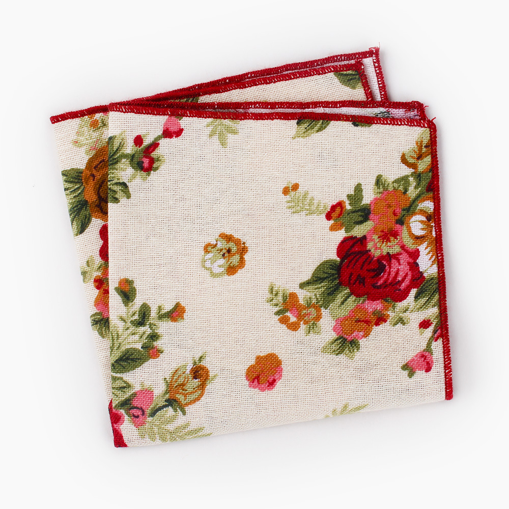 High Quality Men's Floral Printed Handkerchief Groomsmen Men Pocket Square Cotton Hanky Business Chest Towel