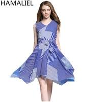 HAMALIEL Vestidos 2017 Summer Women Dress Europe Style Blue Striped Sleeveless Tie Bow High Waist Casual
