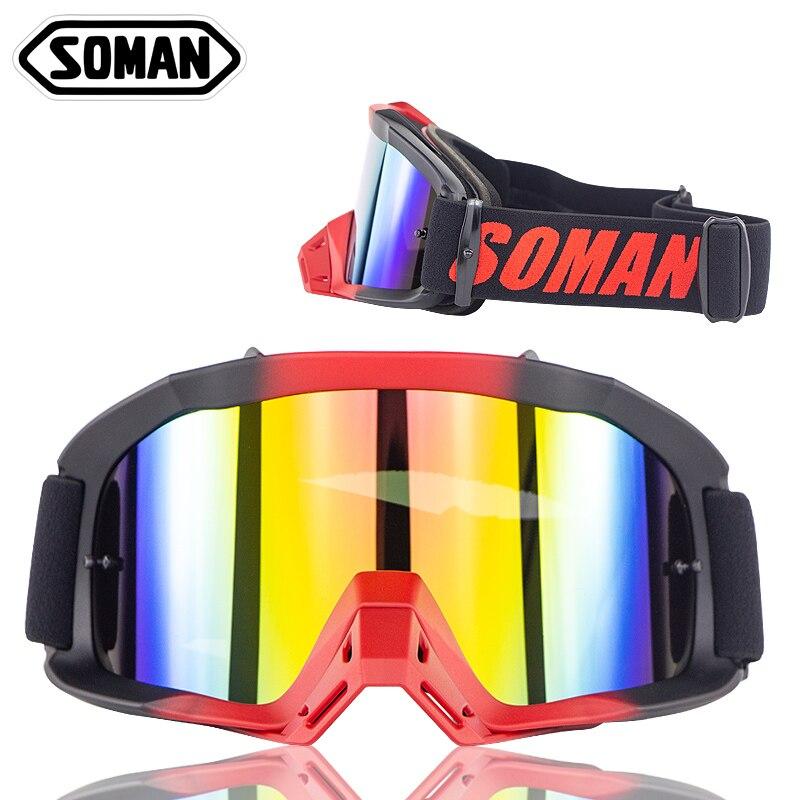 SOMAN Motocross Occhiali vtt hors route Dirt Bike Antipolvere Da Corsa lunettes Moto lunettes MX Occhiali Gafas Moto SM16