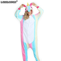 2017 Wholesale New Adult Unisex Flannel Hoodie Pony Unicorn Pajamas Costume Cosplay Animal Onesies Sleepwear Free