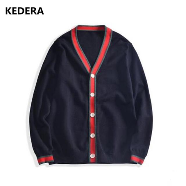 2017 Nueva Otoño Invierno Hombre chaqueta de Punto Suéteres de La Raya V Cuello Ropa Casual Para Los Hombres de la Marca Suéter Suéter Tejido de Punto Caliente