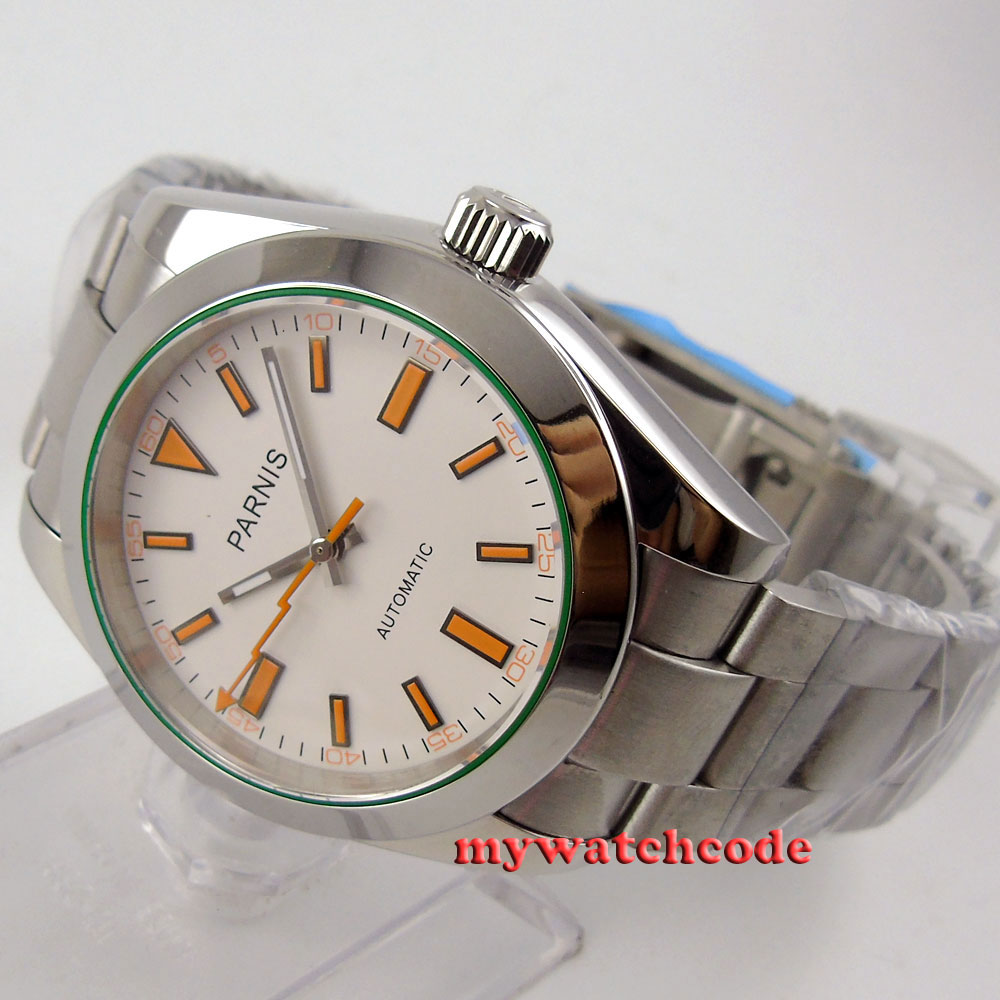 40mm parnis white dial sapphire glass automatic miyota movement mens watch P201 40mm parnis white dial vintage automatic movement mens watch p25